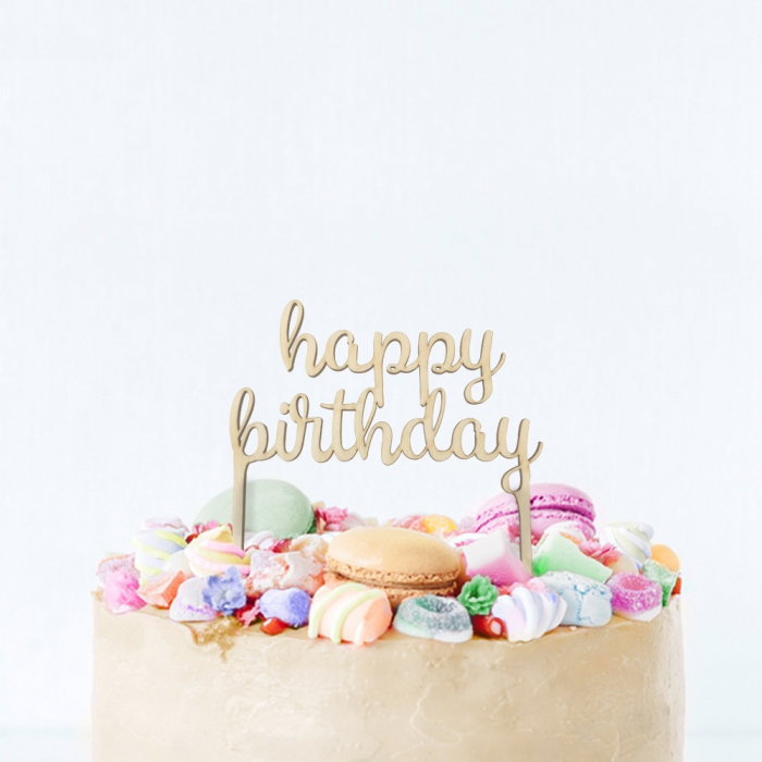 happy birthday taarttopper hout  partydeconl