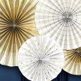Paper Fans wit-goud (4st) Golden Grid