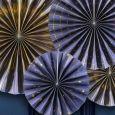 Paper Fans donkerblauw-goud (4st) Golden Grid