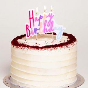Taartkaarsje happy birthday pastel pink Talking Tables
