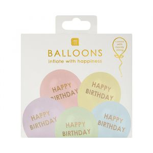 Ballonnen Happy birthday pastel (5st) Talking Tables