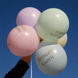 Ballonnen Happy birthday pastel (5st) Talking Tables