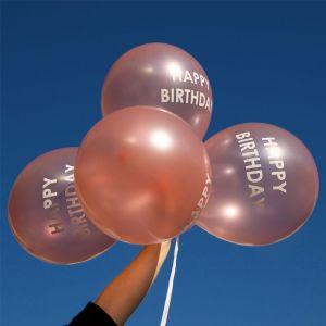 Ballonnen Happy birthday roségoud (5st) Talking Tables