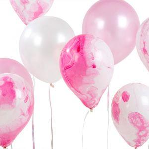 We Heart Pink marble ballonnen (12st) Talking Tables