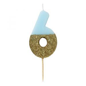 Deze mooie blauwe cijferkaars 5 met gouden glitter dip is perfect voor die heerlijke verjaardagstaart! ✓ Uitgebreide feestcollectie ✓ Voor 22:00 besteld, morgen in huis!