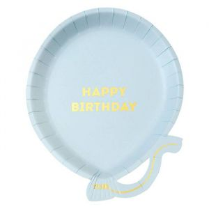 Ballonbordjes happy birthday blauw (12st) Talking Tables