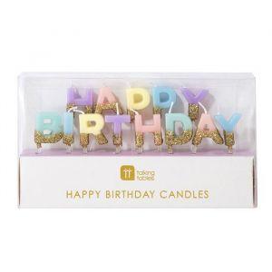 Taartkaarsjes Happy Birthday pastel met goud Talking Tables