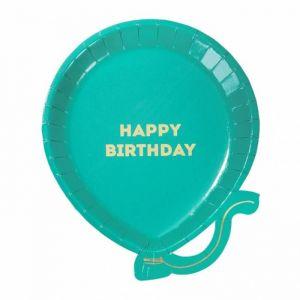 Ballonbordjes happy birthday kleurmix (12st) Talking Tables