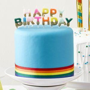 Taartkaarsjes Happy Birthday brights met goud Talking Tables