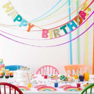 Regenboog Happy Birthday slinger (3m) Talking Tables