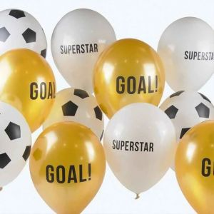 Ballonnen Voetbal wit goud 30cm (12st) Talking Tables