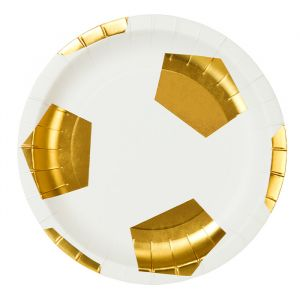Bordjes Voetbal wit goud (12st) Talking Tables