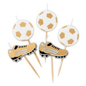 Kaarsjes Voetbal wit goud (5st) Talking Tables