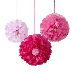 Bloemen pompons roze (3st)
