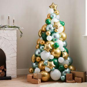 Ballonnen kerstboom green & gold Nordic Noel Ginger Ray