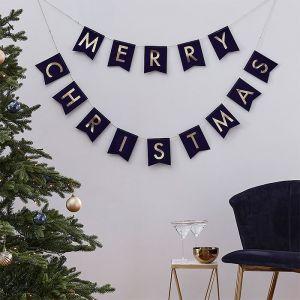 Slinger velvet Merry Christmas blauw Navy Luxe Ginger Ray