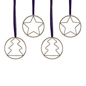 Metalen kersthangers goud Navy Luxe (4st) Ginger Ray