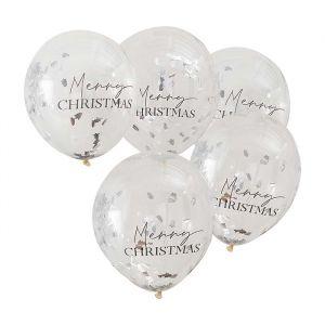 Confettiballonnen Merry Christmas Season for Silver (5st)