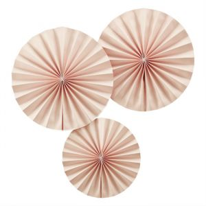 Pastel Perfection Paper Fans Lichtroze (3st) Ginger Ray