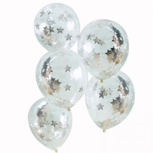 Confetti ballonnen Stars zilver (5st) Silver Metallic Star
