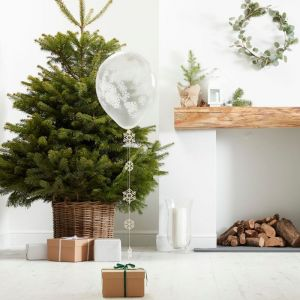 Confetti ballonnen sneeuwvlokken (5st) Rustic Christmas