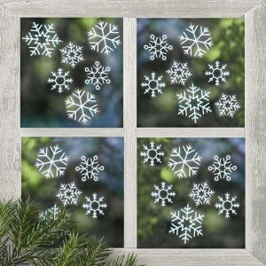 Raamstickers sneeuwvlokken (24st) Rustic Christmas