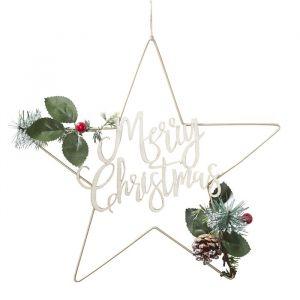 Metalen Merry Christmas decoratie goud Rustic Christmas
