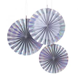 Paper fans holografisch (3st) Iridescent Party Ginger Ray