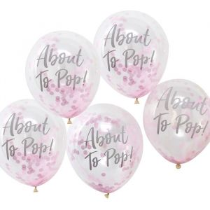 Confetti ballonnen About To Pop roze Oh Baby! Ginger Ray