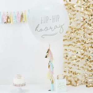 Megaballon Hip Hip Hooray met tassels Pick & Mix Pastel