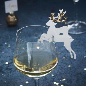 Glass markers rendieren goud (10st) Gold Christmas