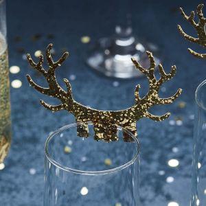 Glaskaartjes rendierengewei goud (10st) Gold Christmas