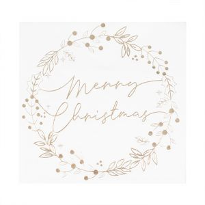 Servetten Merry Christmas goud (16st) A Touch Of Sparkle Gin