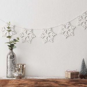 Houten slinger sneeuwvlokken wit Snow Place Like Home