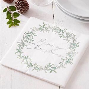 Servetten Merry Christmas Mistletoe Snow Place (16st)