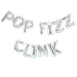 Folieballon slinger Pop Fizz Clink zilver Jolly Vibes