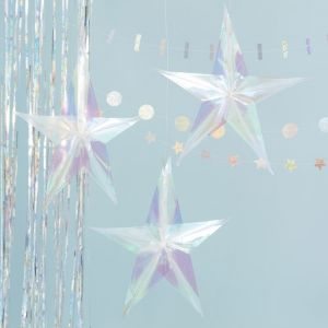 Decoratie sterren holografisch (3st) Jolly Vibes
