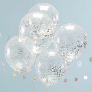Confetti ballonnen glitter holografisch (5st) Jolly Vibes