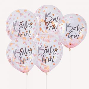 Confetti ballonnen Baby Girl Twinkle Twinkle (5st)Ginger Ray