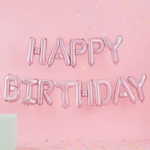 Folieballonnen roze Happy Birthday Pastel Party Ginger Ray