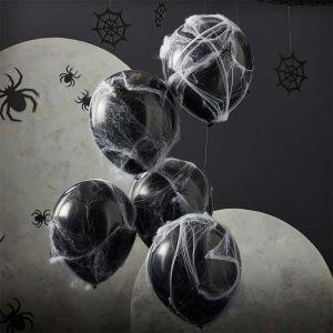 Ballonnen Fright Night met spinnenwebben (5st) Ginger Ray