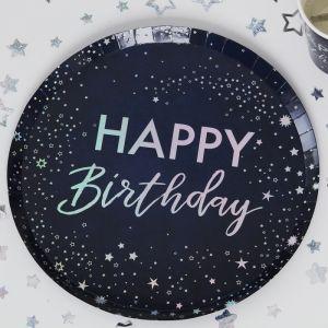 Bordjes Happy Birthday iridescent Star Gazer (8st)