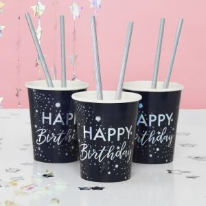 Bekertjes Happy Birthday iridescent Star Gazer (8st)