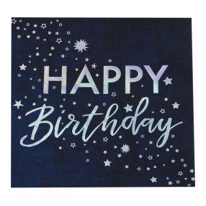 Servetten Happy Birthday iridescent Star Gazer (16st)