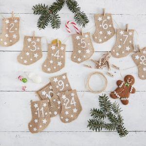 Adventkalender kerstsokken Let it Snow Ginger Ray
