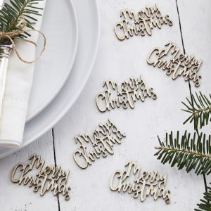 Houten confetti Merry Christmas Let it Snow Ginger Ray