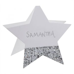 Plaatskaartjes sterren glitter zilver Silver Glitter (6st)