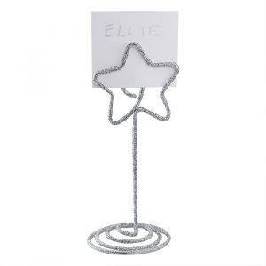 Plaatskaarthouders ster Silver Glitter (6st) Ginger Ray