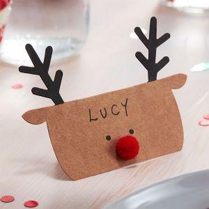 Plaatskaartjes rendieren Silly Santa (10st) Ginger Ray