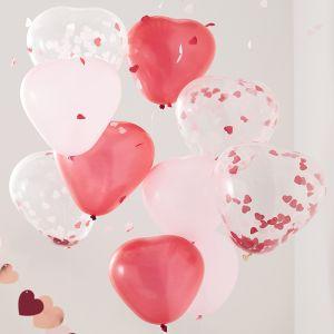 Ballonnen harten rood, roze en confetti (10st) Ginger Ray